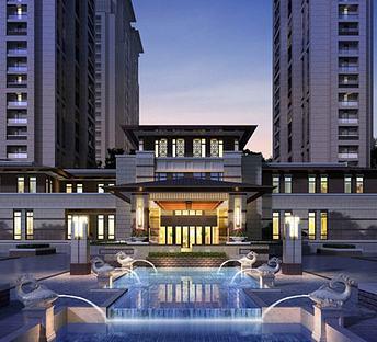 新中式小区住宅大门