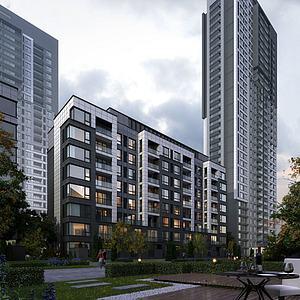 现代中式住宅小区模型3d模型