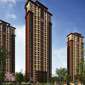 中式高层住宅模型3d模型