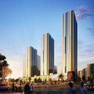 现代高层住宅商业街模型3d模型