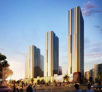 现代高层住宅商业街