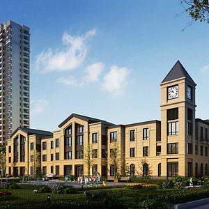 欧式商业街住宅小区模型3d模型