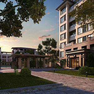 新中式公寓景觀模型3d模型