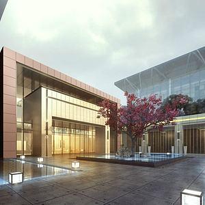 現代展覽館模型3d模型