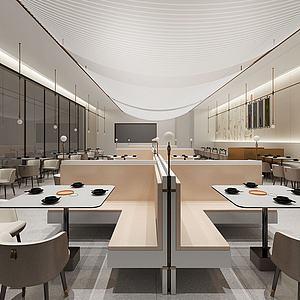 3d現代西餐廳<font class='myIsRed'>卡座</font>模型
