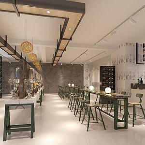 现代工业风混搭餐厅酒吧3d模型
