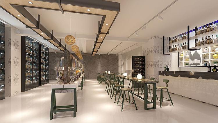 现代工业风混搭餐厅酒吧模型