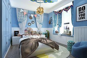 现代地中海风格儿童房卧室