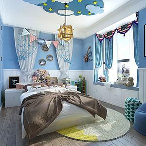 现代地中海风格儿童房卧室3d模型