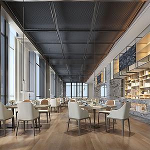 现代新中式酒店餐厅模型3d模型