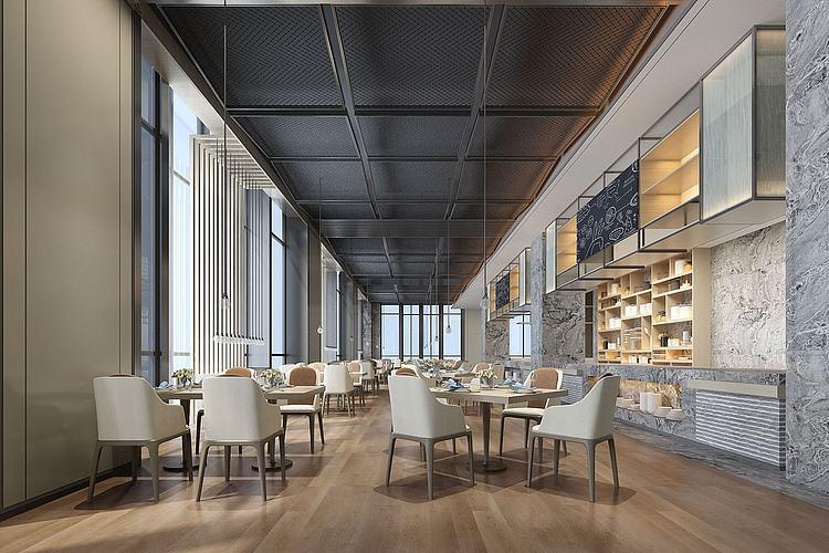 现代新中式酒店餐厅模型
