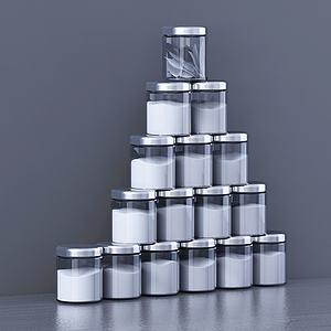 现代厨房用具配料瓶组合模型