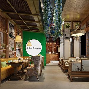 新中式特色餐厅模型3d模型
