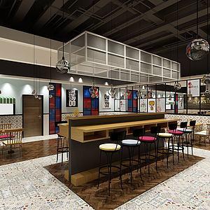 特色餐廳吧臺模型3d模型