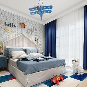3d現代兒童臥室模型
