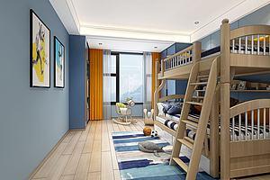 现代地中海儿童房上下床铺