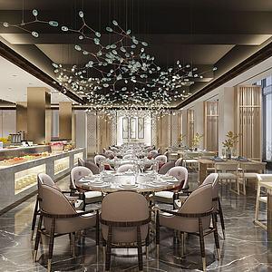 新中式自助餐廳模型3d模型