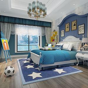 3d现代欧式儿童房卧室模型