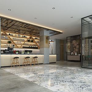 工業風吧臺餐廳模型3d模型