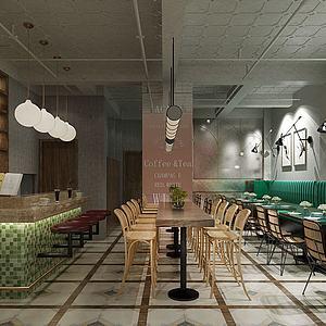 工业风餐厅模型3d模型