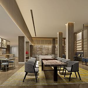 新中式餐厅模型3d模型
