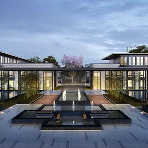新中式別墅會所模型3d模型