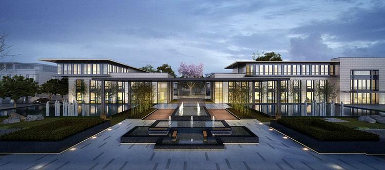 新中式别墅会所模型
