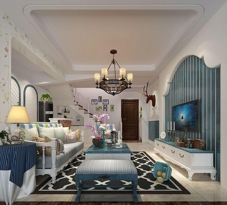 0现代地中海式客厅