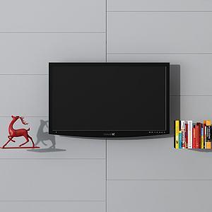 電視墻飾品組合3d模型