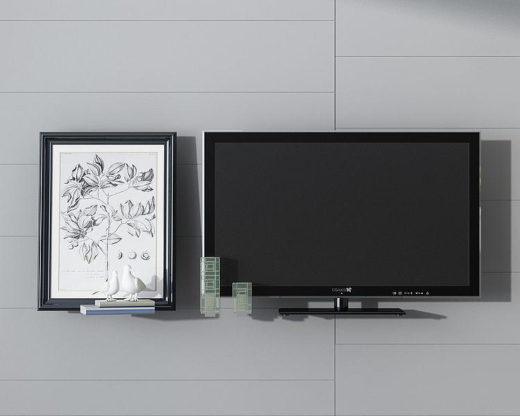 电视机挂画墙饰组合模型