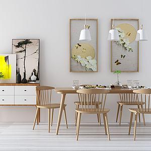 簡約餐桌椅3d模型