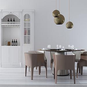 現代餐桌椅組合模型3d模型