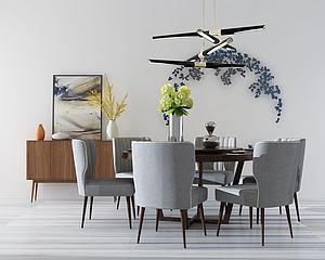簡約餐桌椅模型3d模型