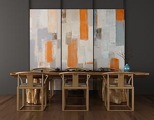 中式餐桌椅組合模型3d模型