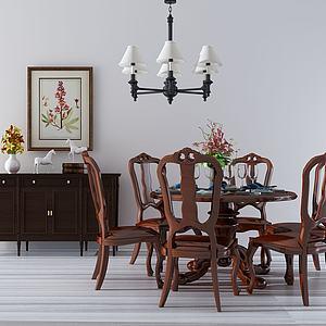 實木餐桌椅模型3d模型