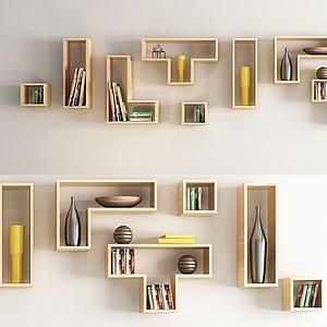 现代木质墙饰3d模型