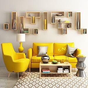 沙發茶幾組合模型3d模型