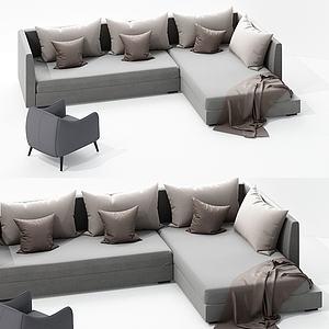 現代多人沙發組合模型3d模型