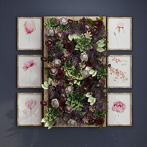 现代花卉墙饰3d模型