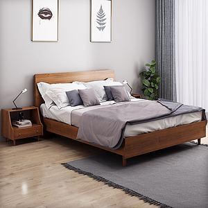 北歐風格雙人床3d模型