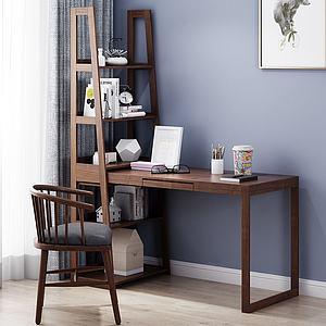 現代書桌椅3d模型