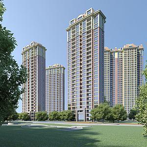 高层住宅小区模型3d模型