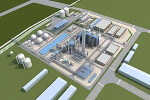 工业厂房鸟瞰模型模型