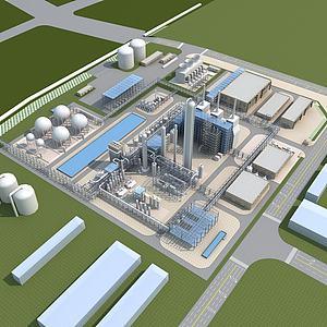 工业厂房鸟瞰模型3d模型