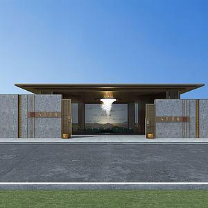 小区大门入口3d模型