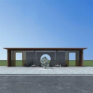 景观背景墙3d模型