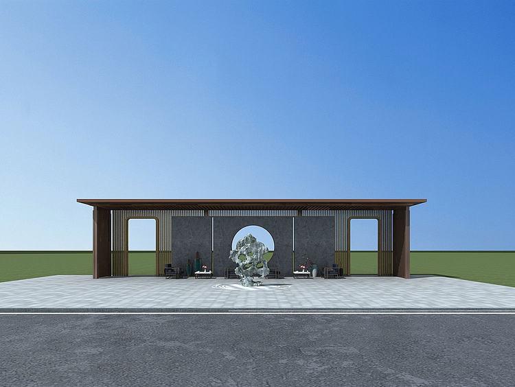 景观背景墙模型