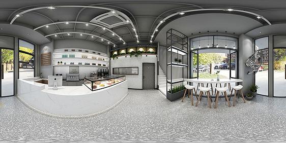 3d面包店餐厅全景模型