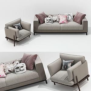 現代布藝沙發模型3d模型