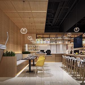 奶茶店餐廳模型3d模型